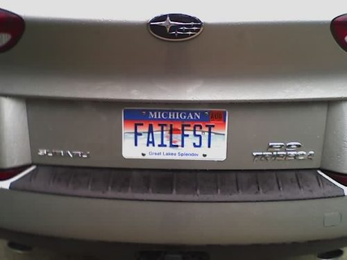 The FAILFST License Plate.